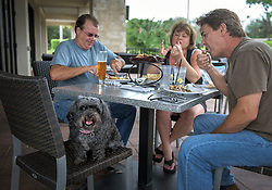 October 7, 2016 - Florida, U.S. - August Carreiro (left) Cindy and Jeff McGovern and their dog Jenny enjoy a meal at Anthony's Coal Fired Pizza on PGA Boulevard. at 1:00pm Friday. The threesome evacuated to Naples on Wednesday and stopped to have lunch before they went to their homes in Jupiter. (Credit Image: © Melanie Bell/The Palm Beach Post via ZUMA Wire)