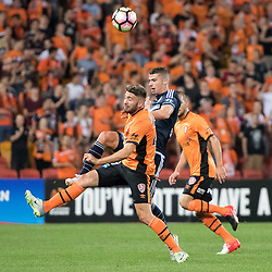 BRISBANE, AUSTRALIA - OCTOBER 7: Mitchell Austin of the Victory kicks the ball during the round 1 Hyundai A-League match between the Brisbane Roar and Melbourne Victory at Suncorp Stadium on October 7, 2016 in Brisbane, Australia. (Photo by Patrick Kearney/Brisbane Roar)