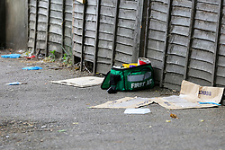 © Licensed to London News Pictures. 28/05/2019. London, UK. London, UK. A medical kit within the crime scene on Warwick Road, Forest Gate, East London where a man in his 30s died in the early hours of this morning.<br />