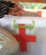 Medicine box in remote hill tribe village, Thailand