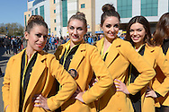 a Row of Singha Beer promotion girls pose outside Stamford Bridge before k/o.Barclays Premier league match, Chelsea v Manchester Utd at Stamford Bridge Stadium in London on Saturday 18th April 2015.<br /> pic by John Patrick Fletcher, Andrew Orchard sports photography.