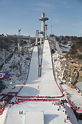 Alpensia Ski Jumping Centre captured from the Big Air jump during the Pyeongchang Winter Olympics 2018 on February 19th 2018, at the Alpensia Ski Jumping Centre, South Korea