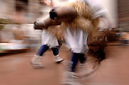 """A group of """"Joaldun"""" takes part an the carnival of Zubieta, Basque Country on January, 31st 2006. Joaldun groups take part in an ancient traditional carnival in the villages of Ituren and Zubieta, carrying sheep furs and big cowbells to their backs on wake up the earth, looking for a good new year, a good harvest and to keep away the bad spirits... Bostok Photo: Ander Gillenea"""