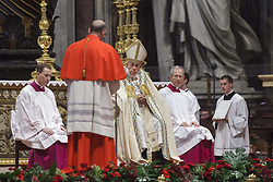 June 28, 2017 - Vatican City, Vatican - Pope Francis elevated 5 Roman Catholic bishops and archbishops to the rank of cardinal during the Ordinary Public Consistory in St. Peter's Basilica in Vatican City, Vatican on June 28, 2017. The 5 new cardinals are below 80 and would therefore be entitled to vote in a conclave to decide a new pontiff. (Credit Image: © Giuseppe Ciccia/NurPhoto via ZUMA Press)