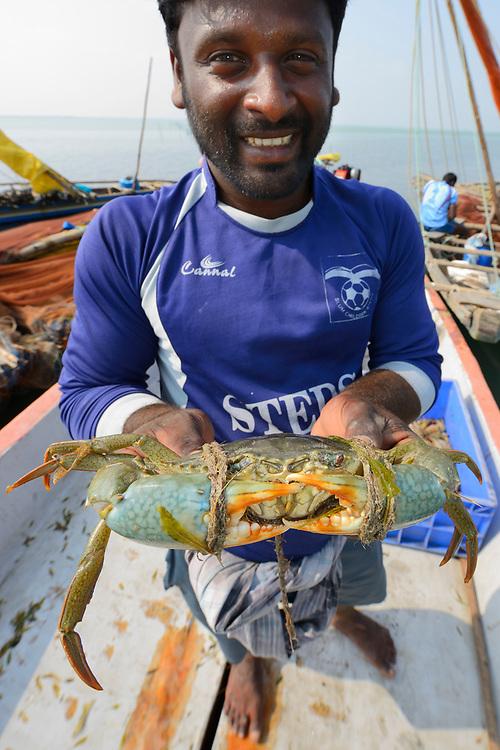 Fisherman with crab, Pulicat Lake, Tamil Nadu, India