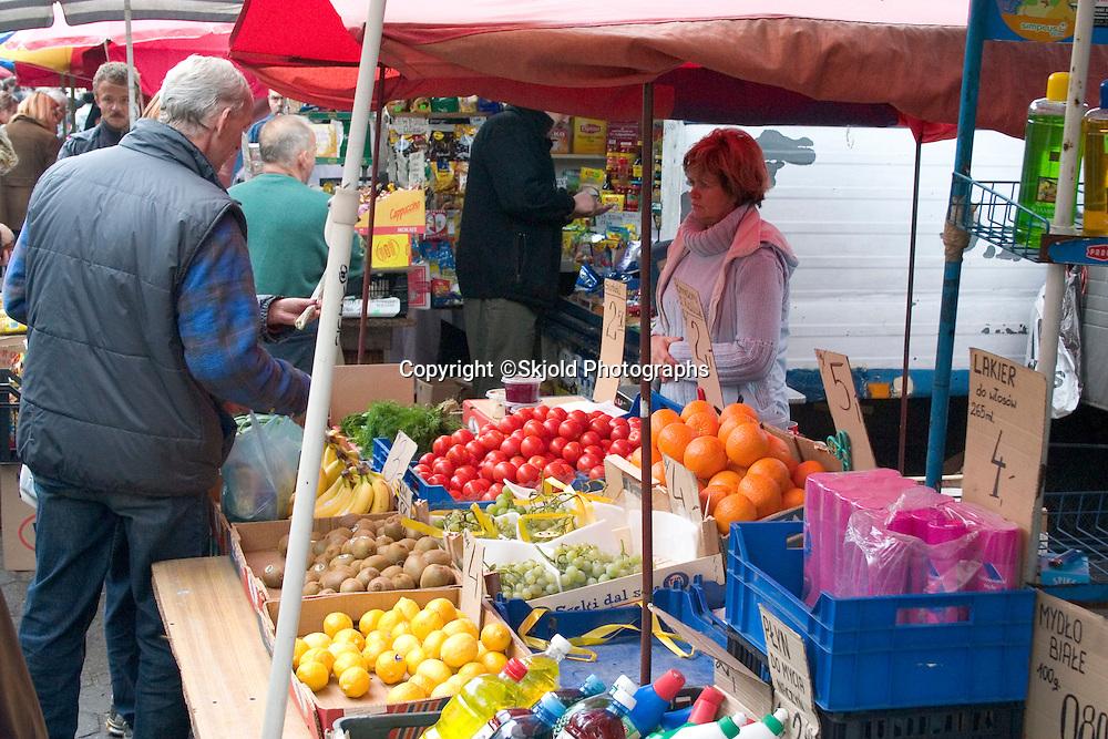 Fresh produce at the Balucki Rynek market.  Lodz   Central Poland