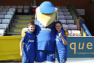 Haydon the Womble and mascot during the EFL Sky Bet League 1 match between AFC Wimbledon and Oxford United at the Cherry Red Records Stadium, Kingston, England on 29 September 2018.
