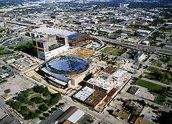 Stock photo of the aerial view of construction work being done on The Toyota Center in downtown Houston Texas
