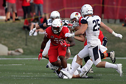 02 September 2017:  James Robinson nears the end of his run which takes 3 Bulldog defenders to complete during the Butler Bulldogs at  Illinois State Redbirds Football game at Hancock Stadium in Normal IL (Photo by Alan Look)