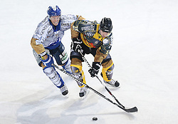 16.09.2012, Amphitheater, Pula, CRO, EBEL, Ice Fever, KHL Medvescak Zagreb vs UPC Vienna Capitals, 04. Runde, im Bild David Brine (KHL Medvescak Zagreb, #4) vs Benoit Gratton, (UPC Vienna Capitals, #25) // during the Erste Bank Icehockey League 04th Round match betweeen KHL Medvescak Zagreb and UPC Vienna Capitals at the Amphitheater, Pula, Croatia on 2012/09/16. EXPA Pictures © 2012, PhotoCredit: EXPA/ Pixsell/ Igor Kralj *****ATTENTION - OUT OF CRO, SRB, MAZ, BIH and POL *****