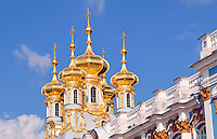 Newly gilded towers gleam in the afternoon light at the Catherine Palace at Tsarskoe Selo (Pushkin) near St. Petersburg, Russia.