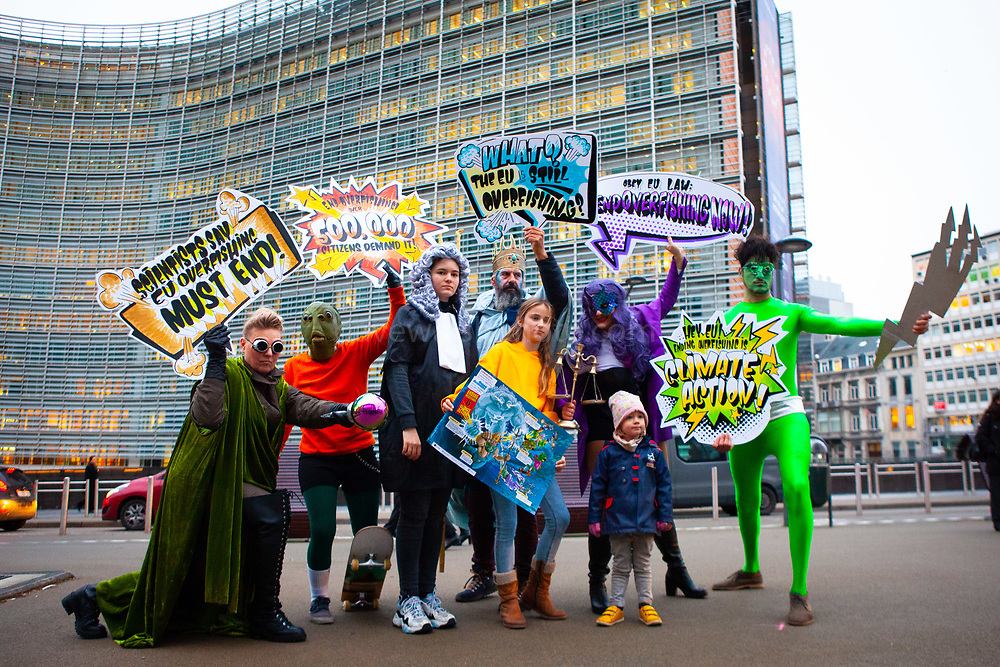 """As EU Fisheries Ministers gather today in Brussels to set fishing levels for the North East Atlantic for 2020, 13-year-old Farrah Delrue and 10-year-old Josephine Seton – representing current and future generations – presented European Commissioner for Environment, Oceans and Fisheries Virginijus Sinkevičius, and Minister Jari Leppa representing the Finnish Presidency of the Council, with more than half a million signatures from EU citizens who are calling for an end to overfishing by EU member states. EU Member states are required to end overfishing by 2020, under the Common Fisheries Policy (CFP).<br /> The Ocean Avengers, a team of superheroes embodying the ocean, climate, law, science and the will of EU citizens, attended the handover, urging Commissioner Sinkevičius to convey the message """"Ending overfishing IS Climate Action"""" to AGRIFISH ministers, and they must obey the law by setting fishing limits within scientific advice, in order to reduce one of the biggest threats to the ocean and its capacity to support life on the planet"""