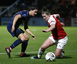 February 7, 2019 - London, England, United Kingdom - Jess Sigsworth of Manchester United Women  takes on Emma Mitchell of Arsenal .during FA Continental Tyres Cup Semi-Final match between Arsenal and Manchester United Women FC at Boredom Wood on 7 February 2019 in Borehamwood, England, UK. (Credit Image: © Action Foto Sport/NurPhoto via ZUMA Press)