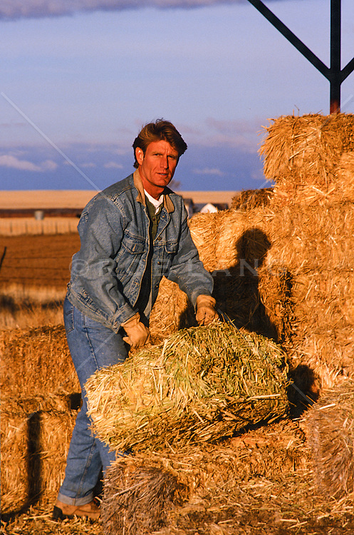All American handsome man working on a ranch with hay bales