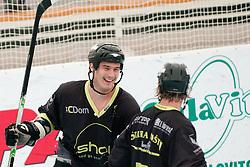 Ziga Pavlin and Gaber Kalan of DPH Itaksport.com Kranj at quarter final match of IZS Masters 2011 inline hockey between DPH Itaksport.com Kranj and Mufloni Tolmin, on June 4, 2011 in Sportni park, Horjul, Slovenia. (Photo by Matic Klansek Velej / Sportida)