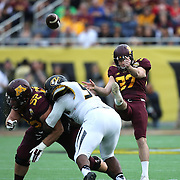ORLANDO, FL - JANUARY 01:  Peter Mortell #37 of the Minnesota Golden Gophers punts the ball during the Buffalo Wild Wings Citrus Bowl against the Missouri Tigers at the Florida Citrus Bowl on January 1, 2015 in Orlando, Florida. (Photo by Alex Menendez/Getty Images) *** Local Caption *** Peter Mortell