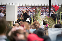 14 April 2019, Jerusalem: On Palm Sunday, thousands gathered and marched from the Mount of Olives down to the Old City of Jerusalem, following in the footsteps of Jesus, as he journeyed to Jerusalem. Here, Abuna Ibrahim Shomali from the Latin Patriarchate of Jerusalem.
