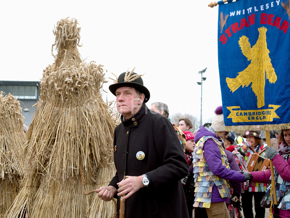 The Straw Bear Festival in Whittlesey near Peterborough, United Kingdom on 13th January 2018. The traditional event was revived in 1980 and features a Straw Bear and its children being led through the streets of Whittlesey. The bear dances, while musicians break off into groups around the town square to perform with many different Morris, Molly, Sword, Mummer and Appalachian dancing teams