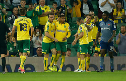 Norwich City's Josh Murphy celebrates scoring his side's second goal of the game with team mates