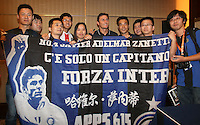 Argentine football star Javier Zanetti, center, poses with fans at a press conference for the 2014 China-Italy The Football Legends Challenge Match in Wuhan city, central China's Hubei province, 16 October 2014.<br /> <br /> The 2014 China-Italy The Football Legends Challenge Match will kick off on Sunday (19 October 2014) in the central Chinese city of Wuhan.