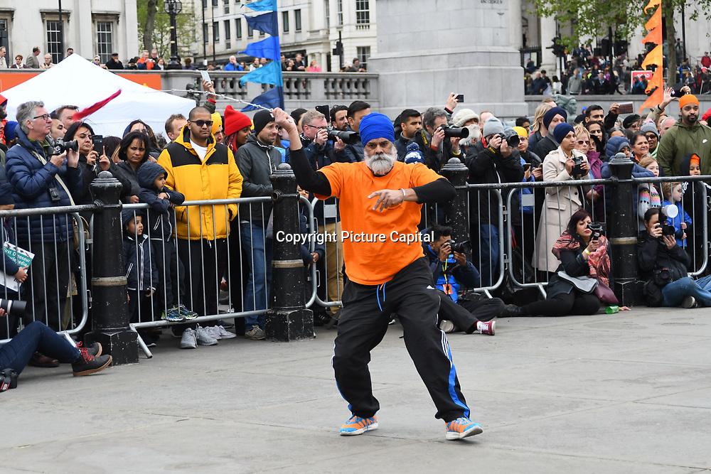 London, England, UK. 27 April 2019. Sikh martial art preforms at Vaisakhi Festival is a Sikh New Year in Trafalgar Square, London, UK.