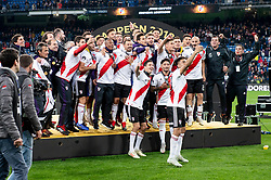 River Plate celebrating the championship after Commebol Final Match between River Plate and Boca Juniors at Santiago Bernabeu Stadium in Madrid, Spain. December 9, 2018. Photo by Borja B.Hojas/AlterPhotos/ABACAPRESS.COM)