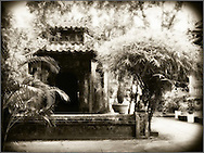 Quiet scene in a temple of Hue, Vietnam, Southeast Asia