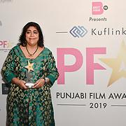 Gurinder Chadha receive an award at the BritAsiaTV Presents Kuflink Punjabi Film Awards 2019 at Grosvenor House, Park Lane, London,United Kingdom. 30 March 2019