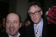 Peter Hillmore and Andrew Barrow. Annabel Freyberg and Andrew Barrow drinks party. The Royal Geographical Society. 5 January 2006. ONE TIME USE ONLY - DO NOT ARCHIVE  © Copyright Photograph by Dafydd Jones 66 Stockwell Park Rd. London SW9 0DA Tel 020 7733 0108 www.dafjones.com