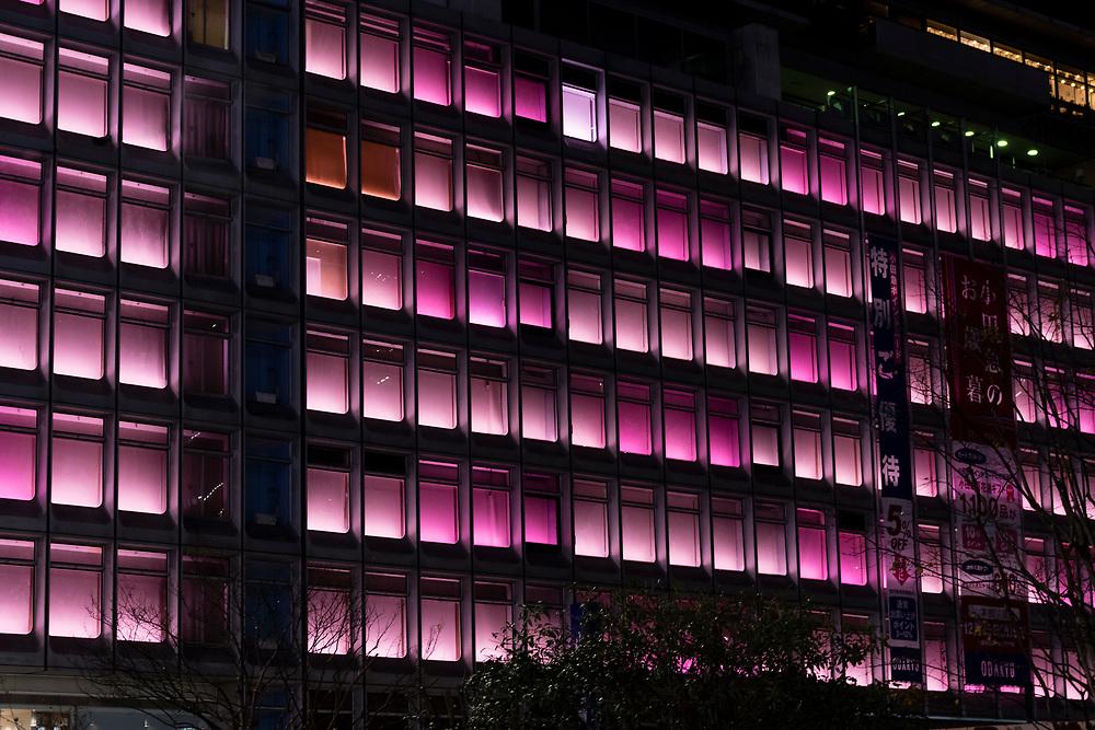 Rows of purple lights in Shunjuku, Tokyo.