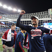 Jose Goncalves, New England Revolution, with the trophy after his sides aggregate victory during the New England Revolution Vs New York Red Bulls, MLS Eastern Conference Final, second leg. Gillette Stadium, Foxborough, Massachusetts, USA. 29th November 2014. Photo Tim Clayton