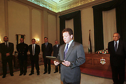 New Crown Prince Abdallah (or Abdullah) swearing in as a regent, in front of his brothers and cousins, in Amman, Jordan on January 26, 1999. Twenty years ago, end of January and early February 1999, the Kingdom of Jordan witnessed a change of power as the late King Hussein came back from the United States of America to change his Crown Prince, only two weeks before he passed away. Photo by Balkis Press/ABACAPRESS.COM