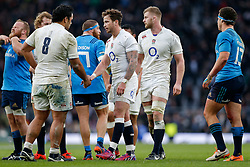 England replacement Danny Cipriani shakes hands with Number 8 Billy Vunipola after scoring a try with his first touch of the game - Photo mandatory by-line: Rogan Thomson/JMP - 07966 386802 - 14/02/2015 - SPORT - RUGBY UNION - London, England - Twickenham Stadium - England v Italy - 2015 RBS Six Nations Championship.