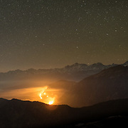 Night shot of wild fire in the Himalayan valleys.