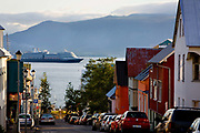 Looking down the hill to the harbour at Reykjavik.
