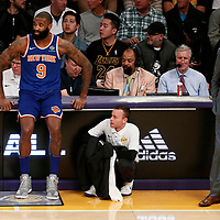 21 January 2018: New York Knicks center Kyle O'Quinn (9) waits to enter the game next to New York Knicks head coach Jeff Hornacek during the LA Lakers 127-107 victory over the New York Knicks, at the Staples Center, Los Angeles, California, USA.
