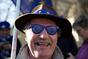 Anti Brexit pro Europe demonstrators with EU glasses at the protest in Westminster opposite Parliament as MPs debate and vote on amendments to the withdrawal agreement plans on 14th February 2019 in London, England, United Kingdom.
