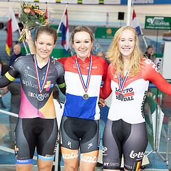 28-12-2018: Wielrennen: NK Baan: Apeldoorn<br />podium achtervolging vrouwen. Amy Pieters, Loes Adegeest en MArjolein van t Geloof