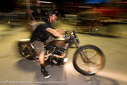 Pat Patterson of Led Sled at Suck, Bang, Blow in Murrells Inlet, SC on the way to the Smokeout 2015. USA. June 17, 2015.  Photography ©2015 Michael Lichter.