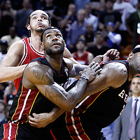06 March 2011: Chicago Bulls center Joakim Noah (13) vies for the rebound with Miami Heat small forward LeBron James (6) and Miami Heat center Erick Dampier (25) during the Chicago Bulls 87-86 victory over the Miami Heat at the AmericanAirlines Arena, Miami, Florida, USA.
