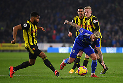 Cardiff City's Joe Bennett (right) in action during the Premier League match at the Cardiff City Stadium.