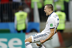 Denis Cheryshev of Russia during the 2018 FIFA World Cup Russia round of 16 match between Spain and Russia at the Luzhniki Stadium on July 01, 2018 in Moscow, Russia