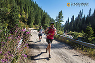 Running race on Stage Four of the IGO Adventure Challenge Race in the Flathead National Forest, Montana, USA