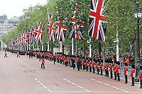 LONDON - JUNE 05: Foot Guards, The Queen's Diamond Jubilee, The Mall, London, UK. June 05, 2012. (Photo by Richard Goldschmidt)