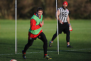 Leigh Halfpenny in action. Wales rugby team training at the Vale, Hensol, near Cardiff on Thursday 29th November 2012. the team are preparing for their final Autumn international match against Australia this Saturday. pic by Andrew Orchard, Andrew Orchard sports photography,