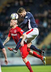 Falkirk's Luke Leahy over Rangers Nicky Law. Falkirk 1 v 1 Rangers, Scottish Championship game played 27/2/2014 at The Falkirk Stadium .