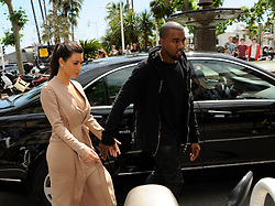 """Kim Kardashian and Kanye West leave private boat """"lady joy"""" in Cannes during 65th Cannes Film festival, on may 23, 2012. Photo by Favier/ABACAPRESS.COM  