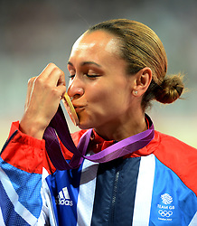 File photo dated 04-08-2012 of Great Britain's Jessica Ennis kisses her Gold Medal after winning the Heptathlon