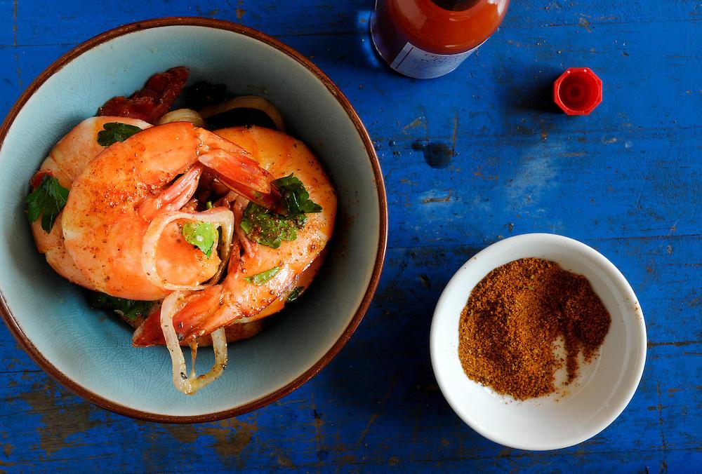 Spiced Shrimp on Blue