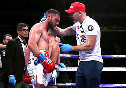 Tommy Coyle (left) speaks to trainer Jamie Moore during the WBO International Super-Lightweight title at Madison Square Garden, New York.
